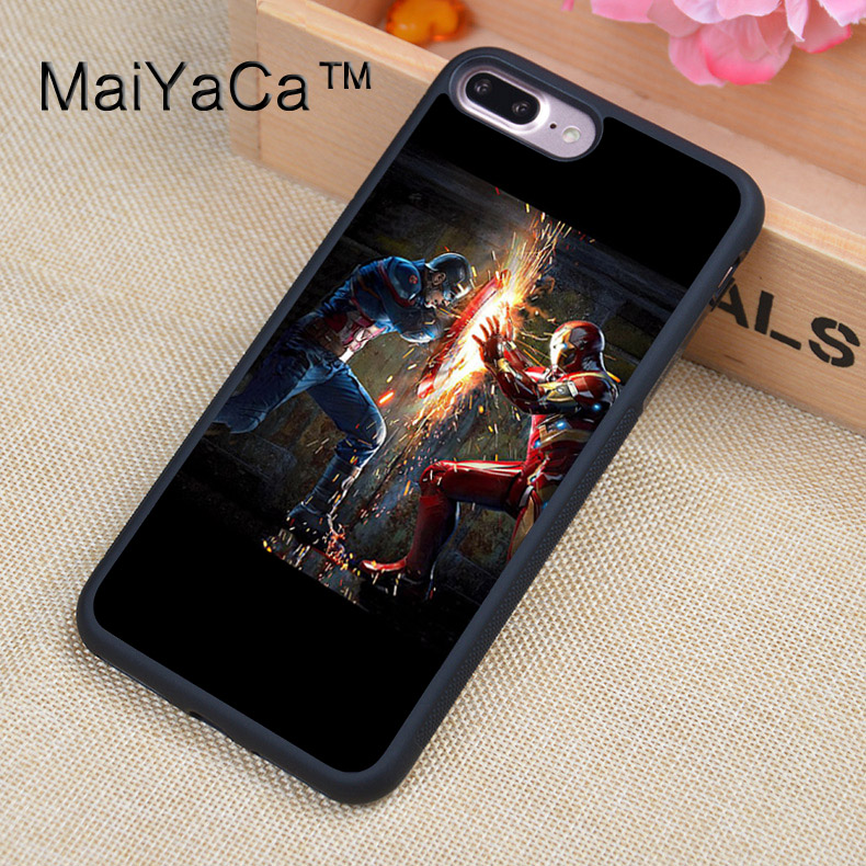 MaiYaCa Cap vs Iron Man Captain America TPU Case For iPhone 7 Plus Full Protection Luxury Cover Case For iPhone 7Plus Coque