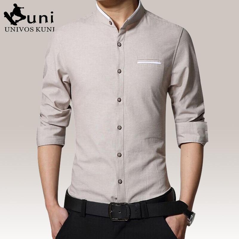 Stand Collar Shirts Designs : New fashion shirt long sleeve casual mens dress shirts