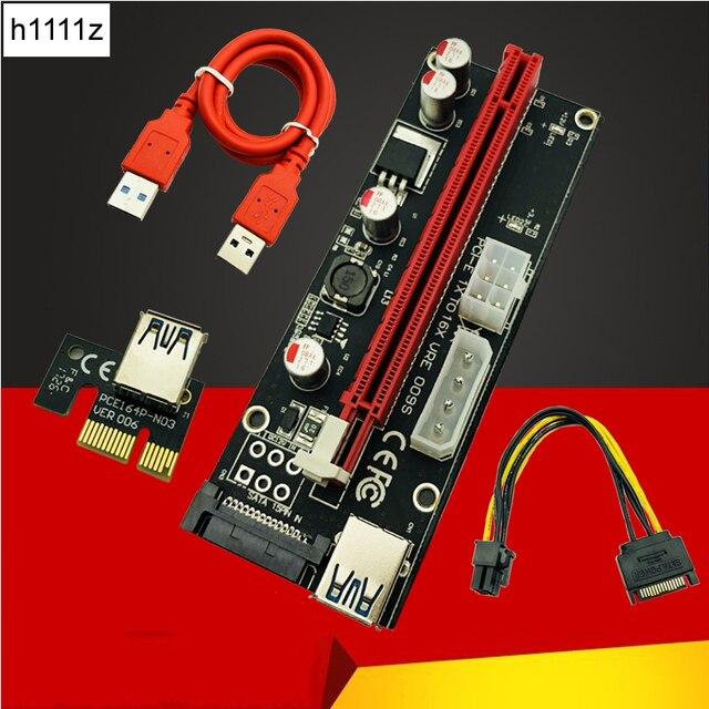 Новый 009 S Molex 4Pin SATA 6PIN PCIE PCI-E PCI Express адаптер 1X для 16X USB3.0 расширитель для Майнинг Биткойн Майнер Antminer