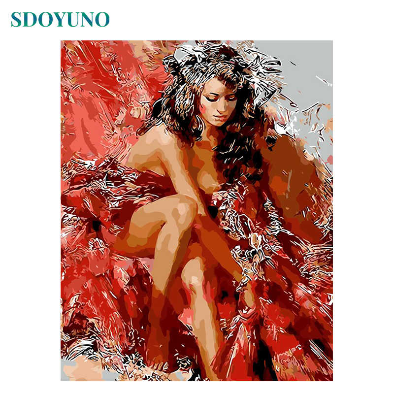 SDOYUNO Frame Sexy Women DIY Painting By Numbers Acrylic Paint On Canvas Figure Painting Modern Wall Art Picture For Home Arts