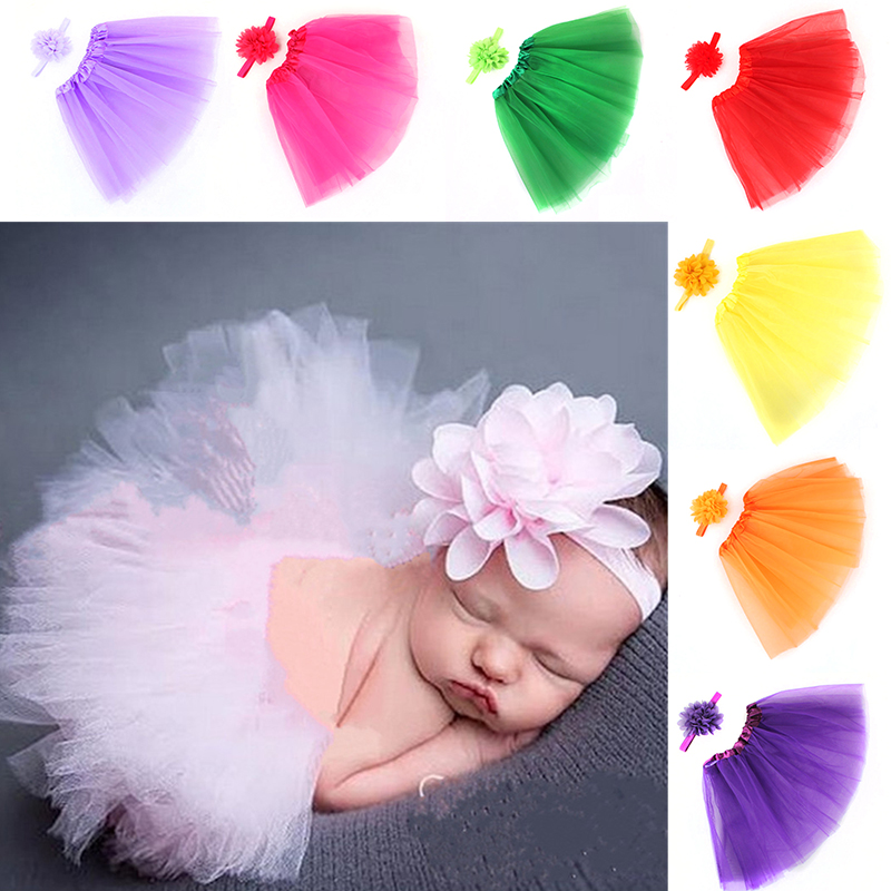 New 2019 Cute Baby Girls Tutu Skirt Ballet Toddler Kids Party Skirt Multi-colors Photography Props +Hair Band Accessories
