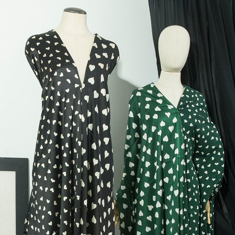 Cute Love Heart Pattern Pure Silk Satin Fabric,Dark Green,Black,Sewing for Dress,Shirt,Skirt,Blouse,Pajamas,Craft by the yard
