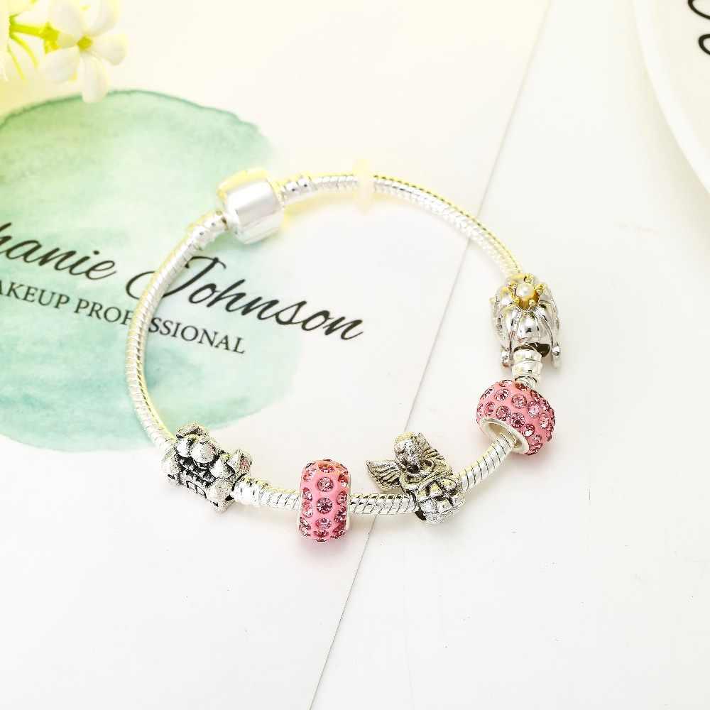 CUTEECO couleur argent romantique citrouille voiture bracelets porte-bonheur ange château perles marque Bracelet pour femmes bijoux Original cadeau