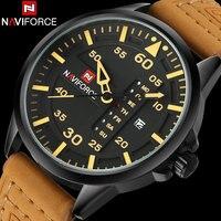 Naviforce Brand Men S Sports Watch Men Casual Quartz Watches 30M Waterproof Leather Band Calendar Clock