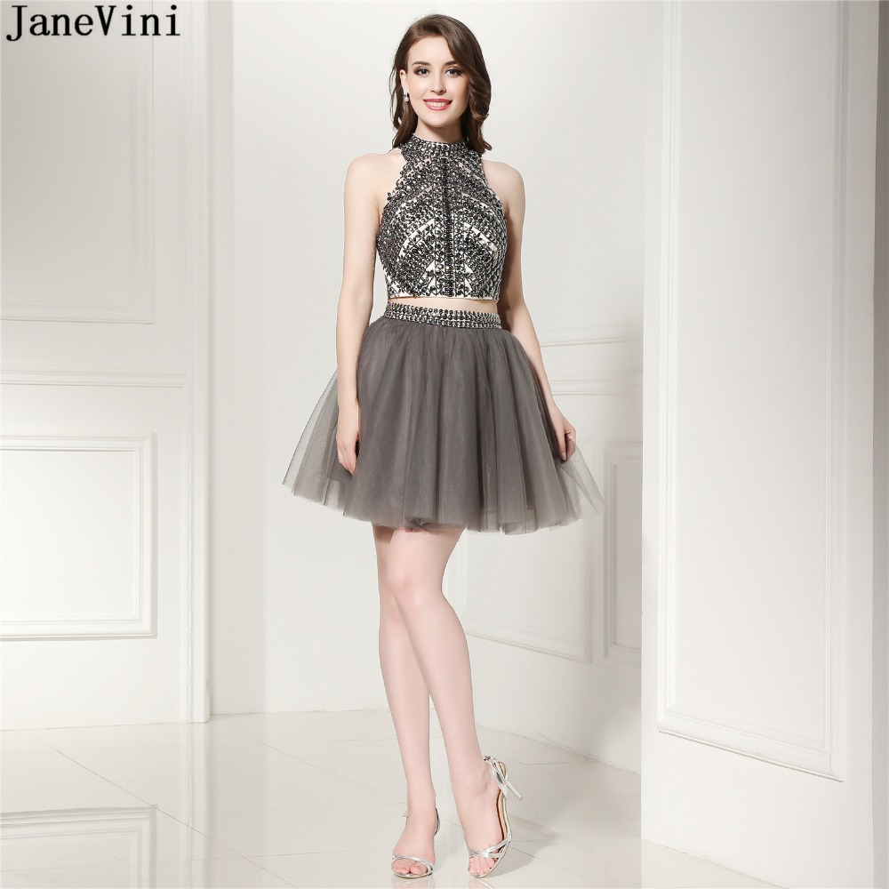 JaneVini Luxurious Short Plus Size   Bridesmaid     Dresses   Beaded Crystal 2018 A Line Halter Backless Tulle Mini Two Piece Prom   Dress