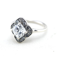Compatible With Pandora Jewelry 925 Sterling Silver Rings For Women Crystalized Floral Fancy Silver Ring With