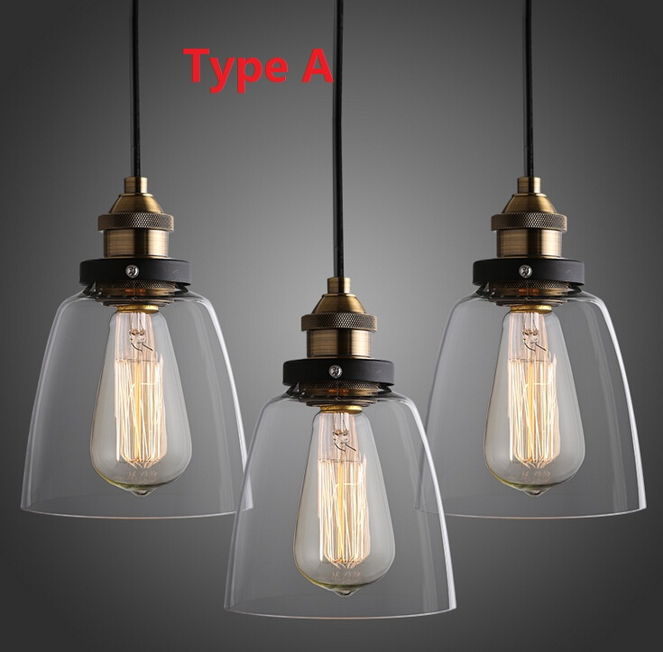 Nordic Vintage Edison Pendant Lamp American Country Kitchen Lights Fixtures Modern Glass