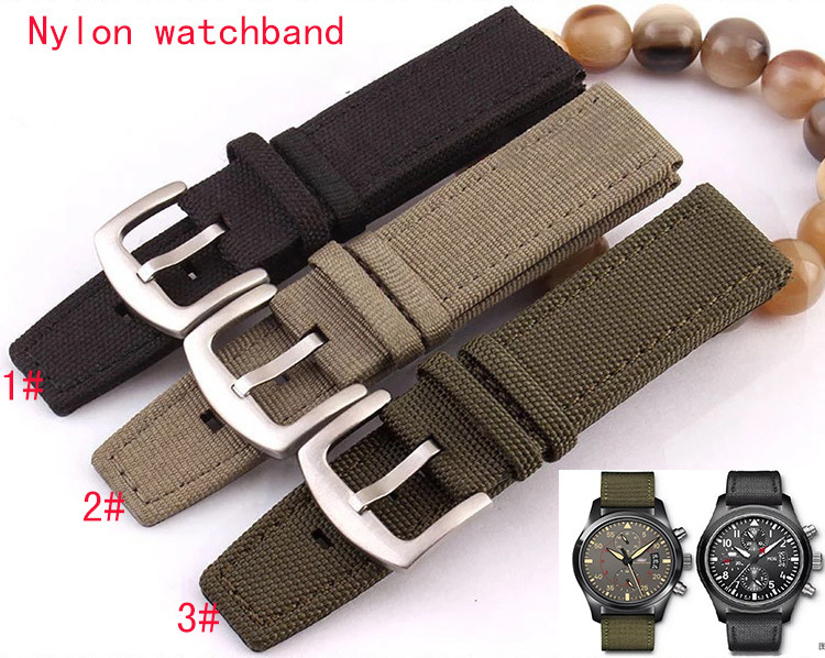 New arrival 2015 New Army Green Black Nylon Fabric+leather bottom Watch Band Strap 22mm Watchbands bracelet promotion cheap survival nylon bracelet with whistle army green