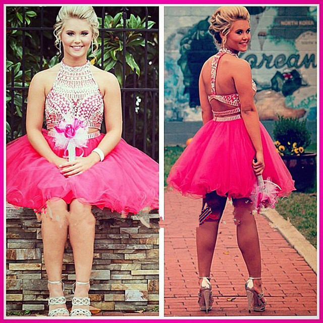 Cute Hot Pink Short Homecoming Dresses High Neck Beaded Backless Grade 8 Graduation Dress Gowns Vestidos Graduacion 2016 Cortos