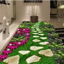 Beibehang Custom 3d flooring Murals HD Park garden stone flowers grass Painting Bedroom Living Room PVC Self adhesive Wallpaper
