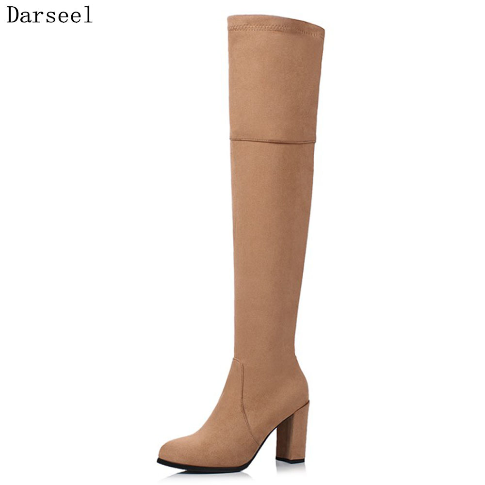 KoHuiJoo 2018 Flock Sexy Stretch Over Knee Boots Women Fashion Winter Boots Woman Shoes Autumn Thick Heel Thigh High Boot Female autumn winter women boots stretch faux suede slim thigh high boots fashion sexy over the knee boots high heels shoes woman 35 43