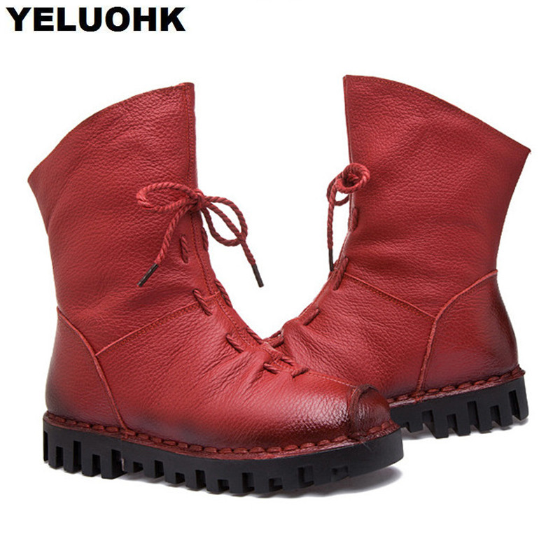 Nuevo Llega Botas de cuero Mujer Zapatos de invierno Mujeres cómodas - Zapatos de mujer