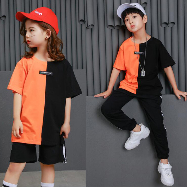 98c1991d3 kid Hip Hop Clothing Casual T Shirt Tops Performance Pants Girls ...