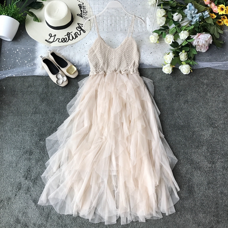 2019 Summer New Sexy Suspender Brassiere Mesh Dress Summer Knitted Stitching Playful Ruffled Gauze Patchwork Vestidos 6