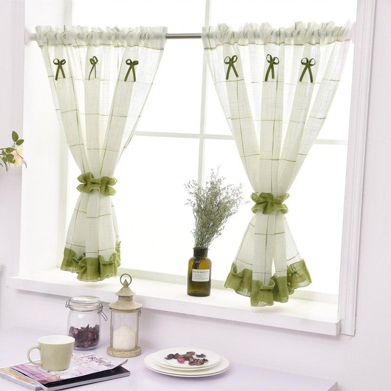 Kurze Vorhänge Für Küche Garn Gefärbt Plaid Leinen Tüll Vorhang Für  Wohnzimmer Schlafzimmer Weiß Jalousien Auf Fenster Wohnkultur Rideau