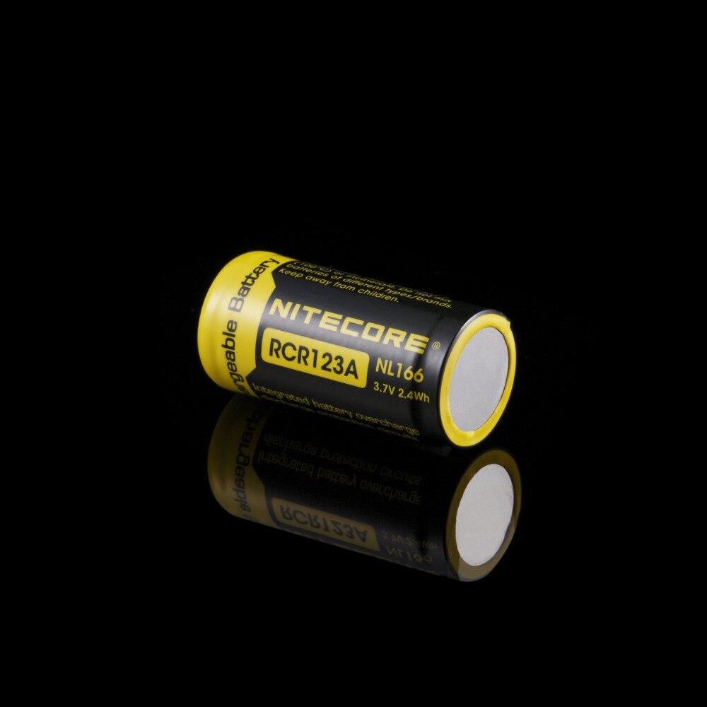 Nitecore NL166 16340 RCR123A 3.7V 2.4Wh 650mAh Lithium Rechargeable Battery 1pcs