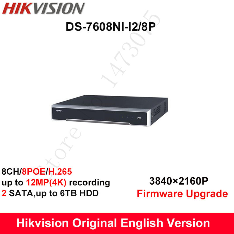 In stock DS-7608NI-I2/8P English version 2SATA 8 POE ports 8ch NVR supporting third-party camera, plug & play NVR POE 8ch H.265 цена 2017