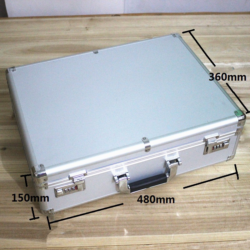 High-grade  Aluminum case tool case toolbox 47* 35*14cm strongbox meter box suitcase file box instrument case With lock suitcase