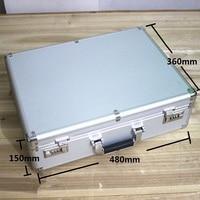 High grade Aluminum case tool case toolbox 47* 35*14cm strongbox meter box suitcase file box instrument case With lock suitcase