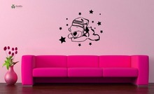YOYOYU Vinyl Wall Decal Sleeping Cute Cartoon Bear Stars Kids Bedroom Removable Home Decoration Stickers FD361