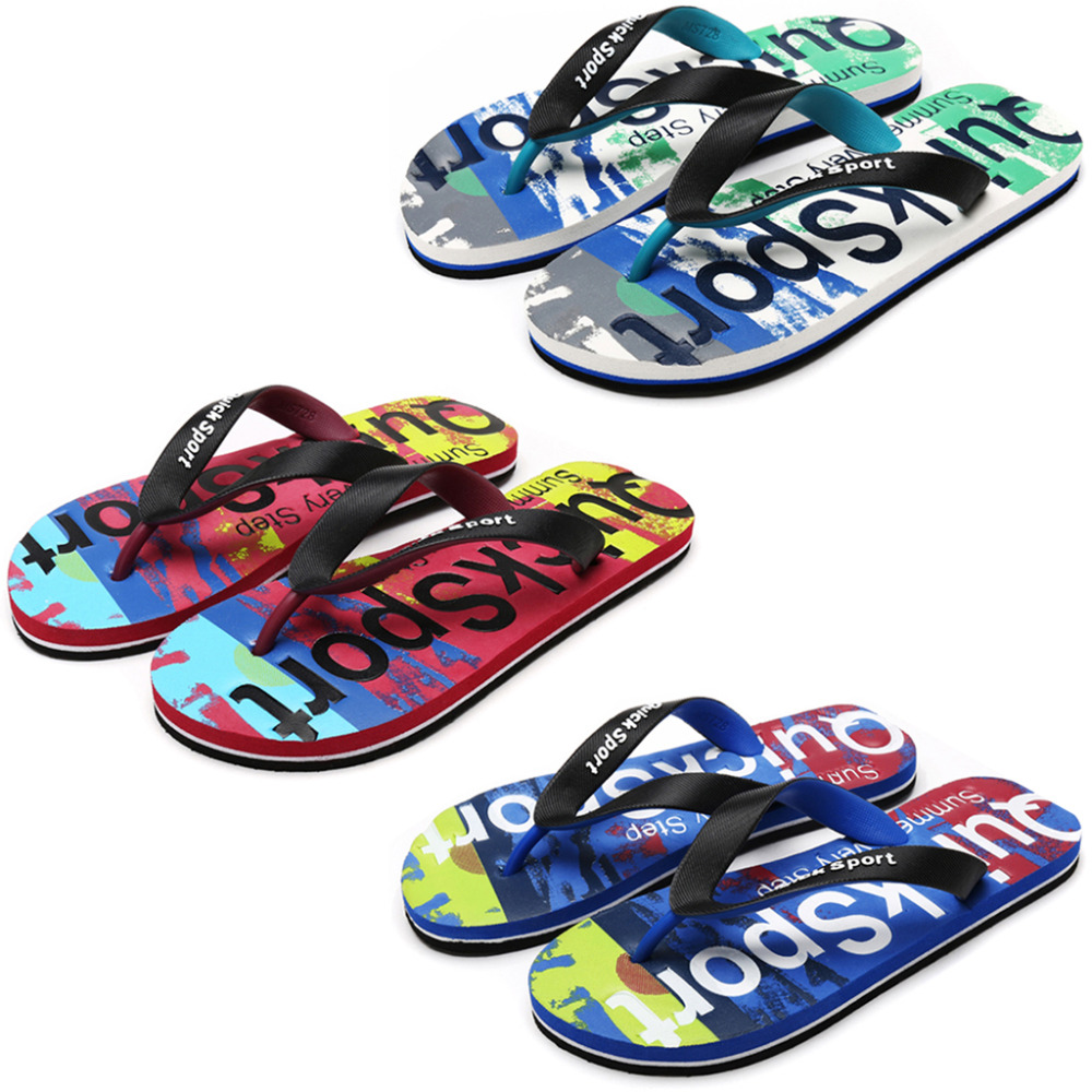 Men Flip Flops Rubber Thong EVA Sole Camouflage Alphabetic Prints Shower Sandal Summer Beach Slippers все цены