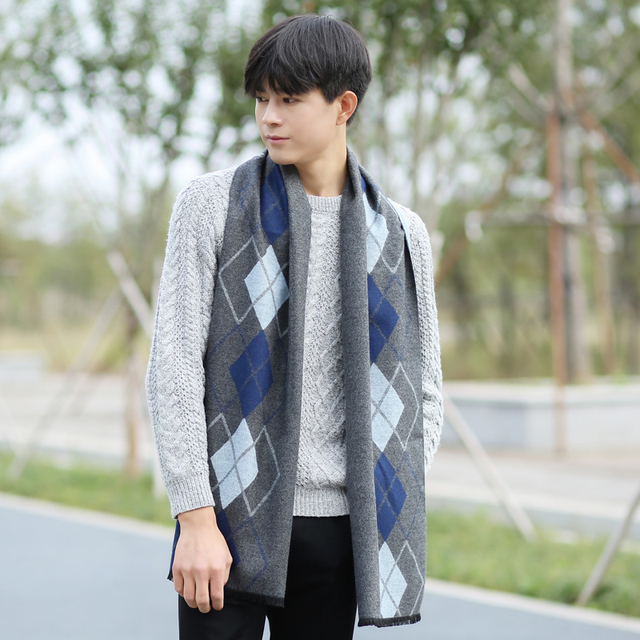 [DIFANNI ]European Business Casual Men Scarves Long Thick Warm Neckerchief Modal Shawl Good Quality Men Scarves Gifts For Men