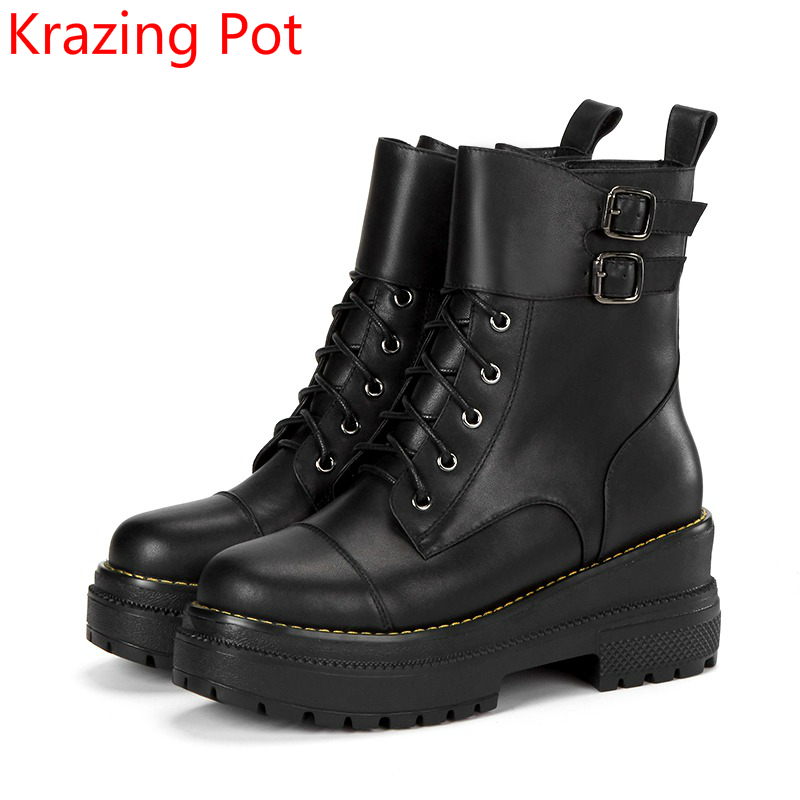 New Arrival Cow Leather Warm Round Toe High Heels Wedge Winter Boots Platform Superstar Zipper Increased Mid-Calf Boots L7f6