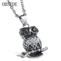 2017 OBSEDE New Arrival Fashion Titanium Exquisite Owl Necklace Charms Trendy Silvery Chain Delicate Best Gift
