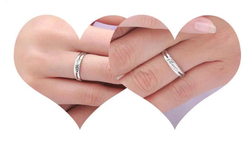 לנצח אוהב אותך 1314 זוג טבעות Ajustable 2 יחידות סט לאוהבי חתונה אביזרי מתנת יום האהבה לנשים