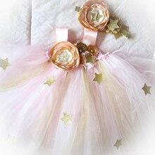 все цены на Pink Gold Flower Girl Twinkle Star Ankle Length Dress for Girls 1st Birthday Party Dress Baby Kids Mesh Tutu Solid Dress Clothes онлайн