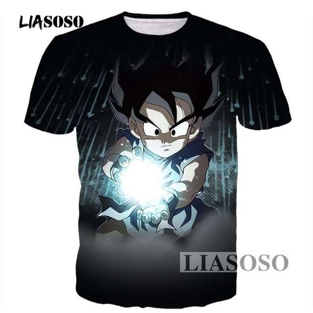 79346df1 LIASOSO Mens Black Tees Vintage Anime Dragon Ball Z Kid Goku 3D t shirt  Male Galaxy Prints tshirts Casual Tee Shirts Tops R3668
