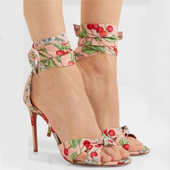 Cherry Print Sweet Lady Thin Heel Lace-up Sandals Cartoon Floral T-tied High Heels Open Toe Women Party Wedding Pumps For Woman