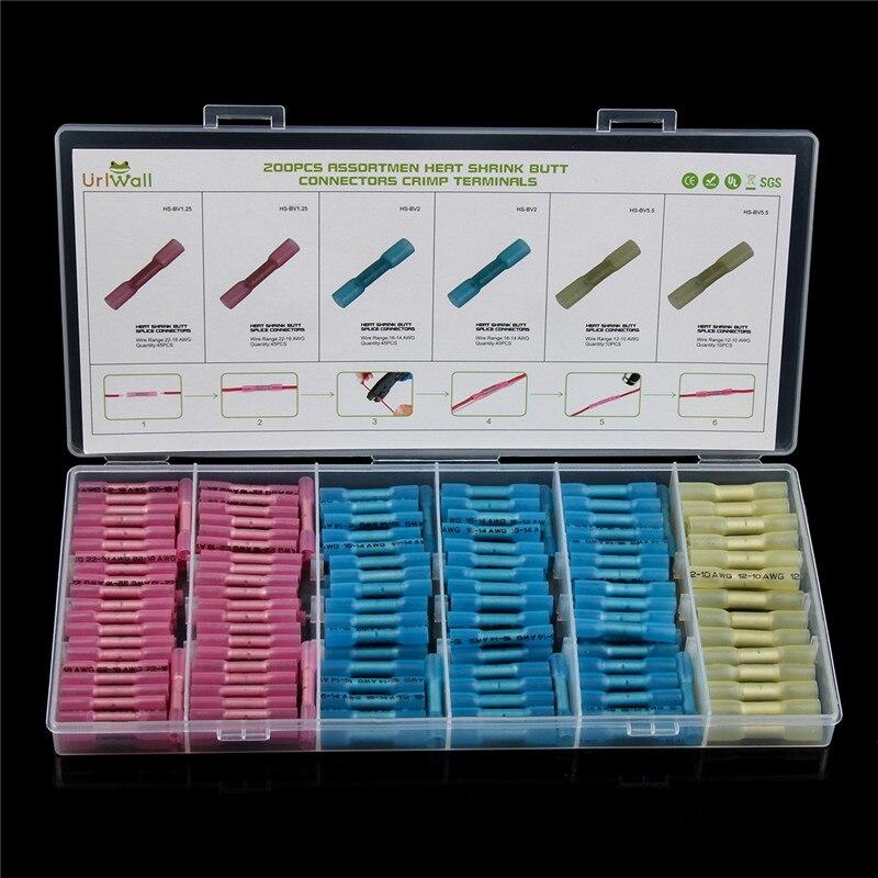 200/100 piezas 3 tamaños impermeable Heat Shrink Butt conectores empalme de alambre eléctrico Cable Crimp terminales AWG 22-10 kit