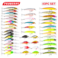 Hot 43pcs/lot fishing lure Set Mixed 6 models fishing tackle 43 color Minnow lure Crank Lures Mix fishing bait