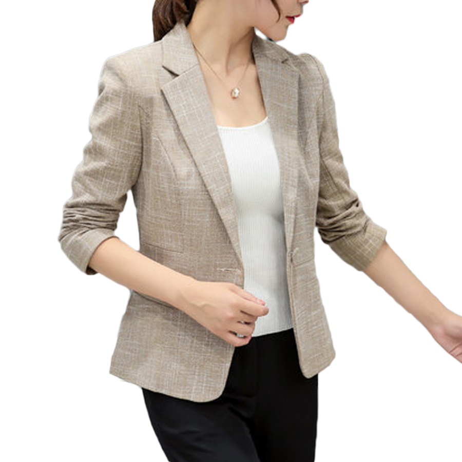 Blazers And Jackets: Cotton Women Blazers And Jackets Plus Size Linen Plaid