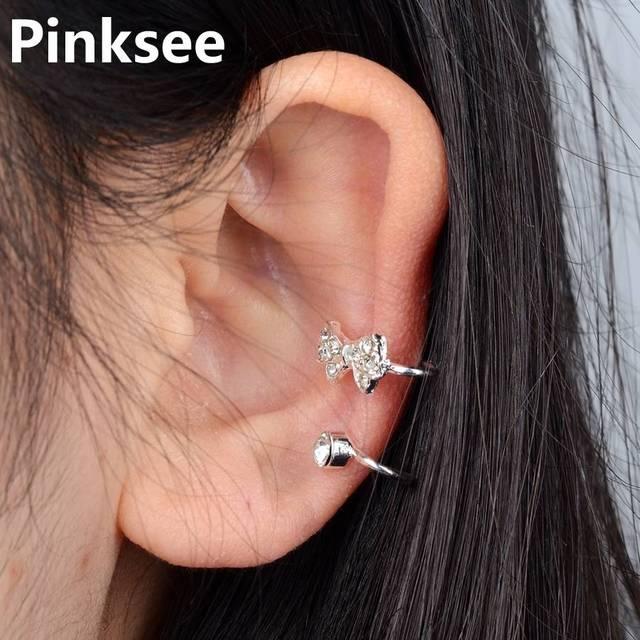 85a768dfd 1PC Rhinestone Bow Ear Cuff Clip Sweep Up Warp Cuff Earring No Piercing  Gold/Silver Tone Women Jewelry boucle d'oreille clip