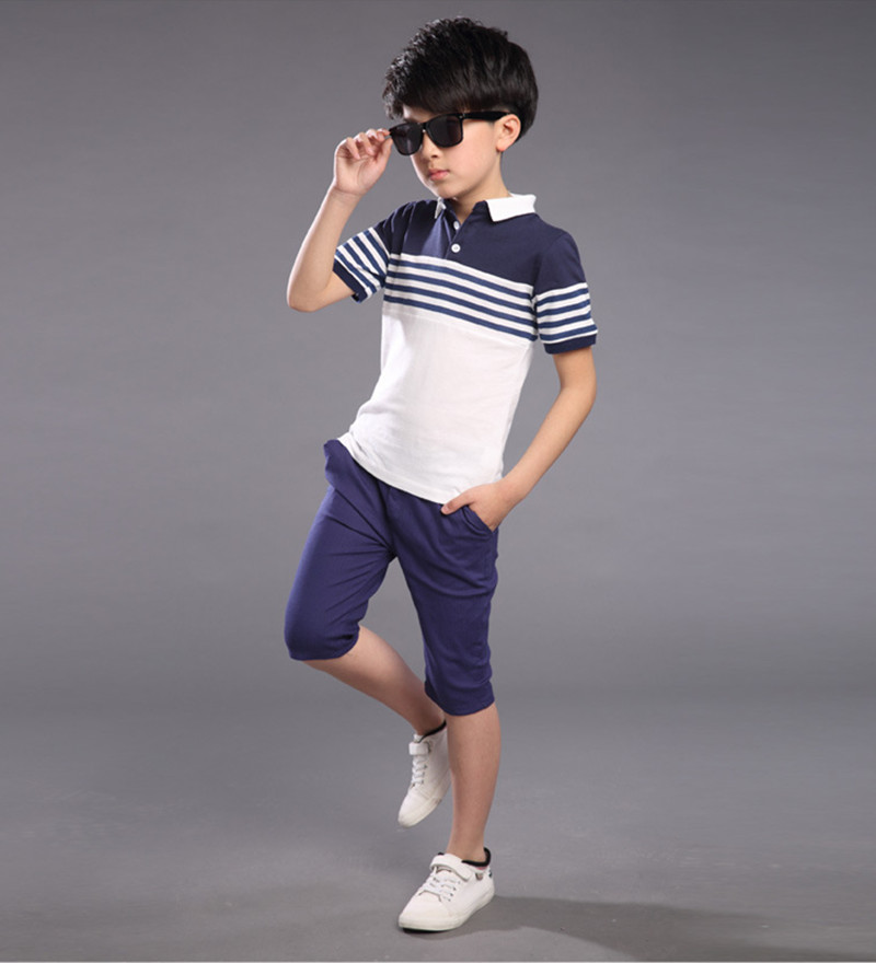 4 13 Year Old Boy Sports Suit Summer Style Fashion Lapel T