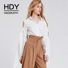 HDY Haoduoyi Brand Women White Casual Shirts Cold Shoulder Lace Up Hollow Out OL Lady Elegant Soft Blouses Sweet Tops
