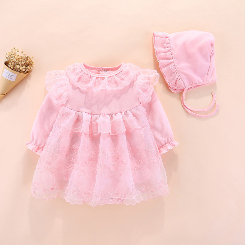 Baby Girl Clothes Newborn Flowers Embroidery Lace One-pieces Clothing Set Jumpsuit & Hat Cute Infant Cirls Bodysuits 0-12M