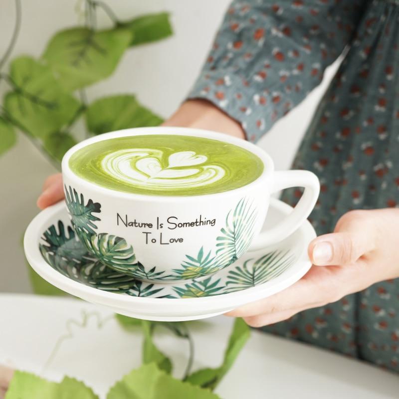 New Creative 320ml Coffee Cup Bamboo Leaf