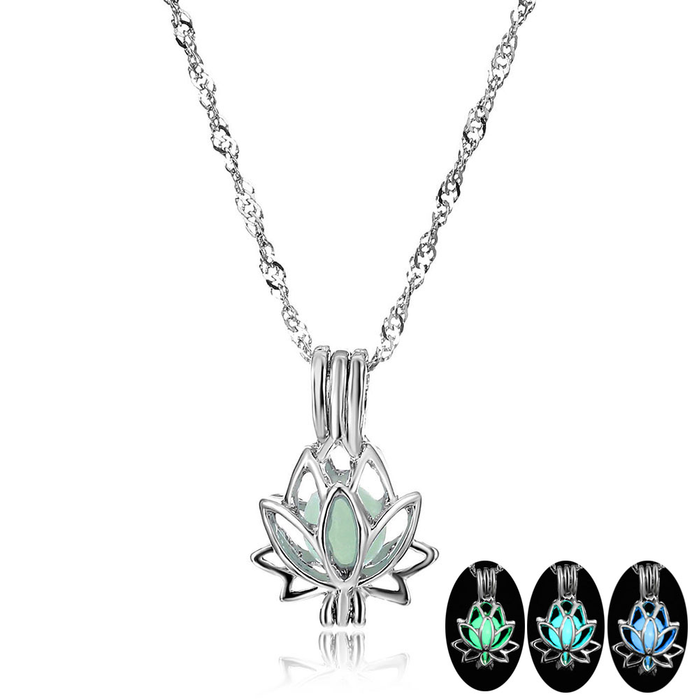 Модное светящееся ожерелье FAMSHIN с подвеской в виде лотоса, 3 цвета, Очаровательная цепочка, подвеска, яркое вечернее ожерелье, ювелирные изде...
