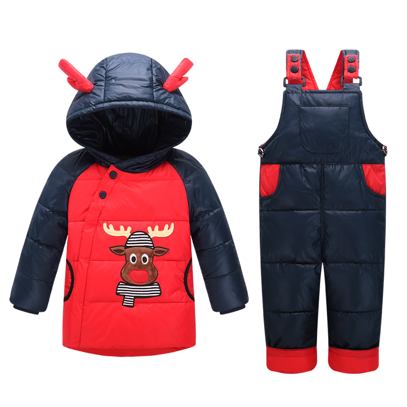 Kids Snowsuit Clothes Winter Down Jackets For Girls Boy Children Warm Jacket Toddler Outerwear Coat+Pant Set Deer Print Clothing iyeal winter down jackets for boys girls kids snowsuit children clothes warm jacket overalls baby clothing set outerwear coat
