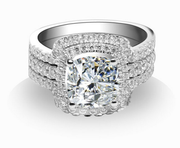 3ct Brilliant Cushion Cut Solid 14k White Gold Bridal Sets Synthetic Diamond Engagement Wedding Rings For Women