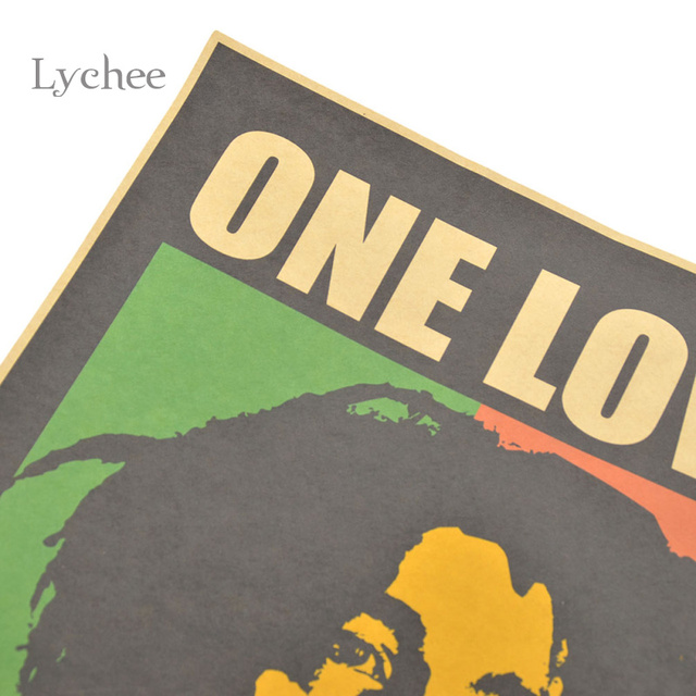 Lychee Reggae Star Bob Marley One Love Art Music Poster Wall Sticker