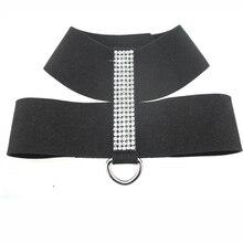 Cute fashionable rhinestones leather yorkie harness leash
