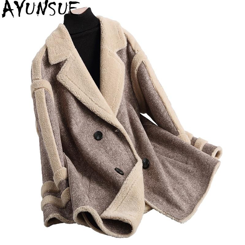 AYUNSUE De Luxe Chaud Hiver Laine Manteau De Fourrure des Femmes De Mode Longue Laine Vestes pour Femmes Abrigos Mujer Invierno 2018 18006- 1 WYQ1842