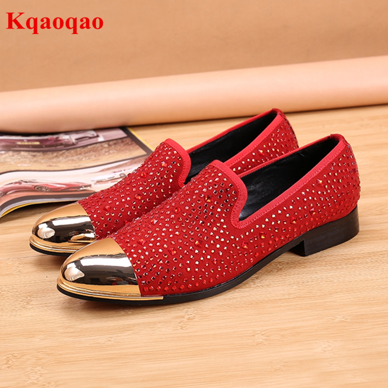 Spring Metallic Round Toe Men Slip On Shoes Crystal Embellished Low Top Nightclub Party Shoes British Style Red Color Loafers new 2017 men s genuine leather casual shoes korean fashion style breathable male shoes men spring autumn slip on low top loafers