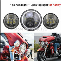 Harley Accessories 7inch LED Headlight White Halo and 4.5inch Fog Passing Light Black for Harley Motorcycles