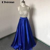 등이없는 어깨 새틴 로얄 블루 이브닝 드레스