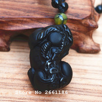 wholesale AAAA+ natural Obsidian pixiu pendant black crystal Obsidian pendant Necklace Gift For Men Jades fashion jewelry